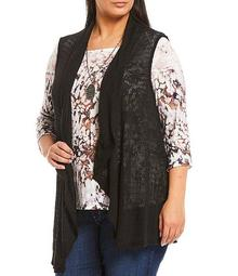 Plus Size Stoney Wash 3/4 Sleeve Sublimated Drape Detail Top with Necklace