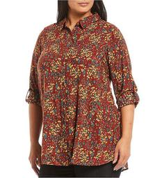 Plus Size Russet Brown Floral Print Roll-Tab Sleeve Button Down Hi-Low Shirt