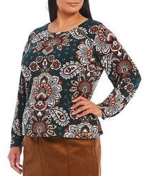 Plus Size Paisley Floral Print Round Neck Zipper Shoulder Detail Long Sleeve Top
