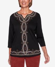 Women's Plus Size Catwalk Embroidered Center Knit Top