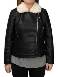 Mark Alan Plus Size Faux Leather Sherpa Collar Moto Jacket
