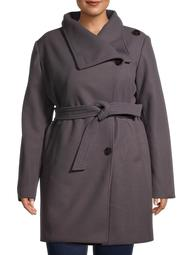 Mark Alan Women's Plus Size Belted Collar Coat