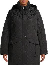 Big Chill Women's Plus Size Basket Weave Quilted Faux Memory Anorak with Hood