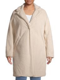 Mark Alan Women's Plus Size Single Breasted Faux Sherpa Coat