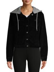 No Boundaries Juniors' Plus Size Hooded Corduroy Jacket