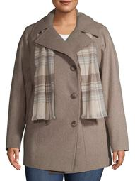 F.O.G. Women's Plus Size Double Breasted Wool Coat With Scarf