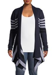 What's Next Women's Plus Size Ribbed Striped Flyaway Cardigan