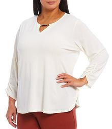 Plus Size Bead Detail Keyhole Neck 3/4 Ruched Sleeve Top