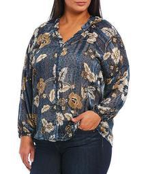 Plus Size Floral Print Notch V-Neck Long Blouson Sleeve Button Front Top