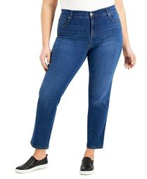 Plus Size Short Length Straight-Leg Jeans, Created for Macy's