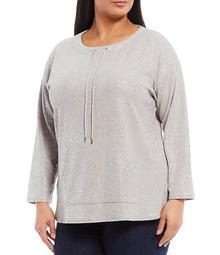 Plus Size Knit Foiled Detail Scoop Drawstring Neck Long Sleeve Top