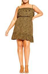 Animal Print Babydoll Dress