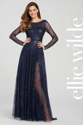 EW119003 - Lace With Sleeve Prom Dress