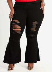 Short Pull On High Waist Flare Jean