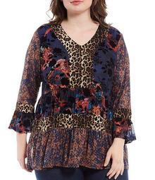 Plus Size Animal Floral Patchwork Print V-Neck Bell Sleeve Tunic
