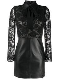 lace leather panel dress