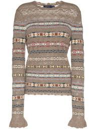 striped open-knit jumper