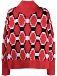 geometric wool roll neck