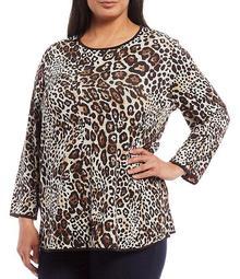 Plus Size Reversible Plaid & Leopard Print 3/4 Sleeve Swing Knit Top