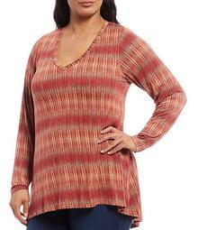 Plus Size Rust Stripe Print V-Neck Pleat Back Hi-Low Hem Top