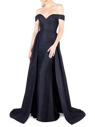 Off-The-Shoulder Lace Evening Gown