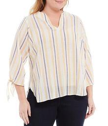 MICHAEL Michael Kors Plus Size Vacay Stripe Lurex Crinkle Split V-Neck Tie Sleeve Top