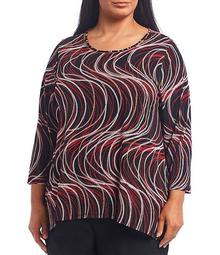 Plus Size Swirl Dot Printed Embellished Scoop Neck 3/4 Sleeve Tunic