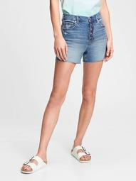 "4"" High Rise Button-Fly Denim Shorts"