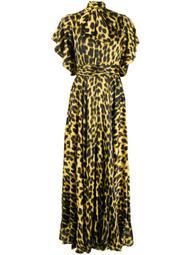 leopard-print pussy bow dress