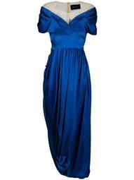 asymmetrical off-shoulder silk dress