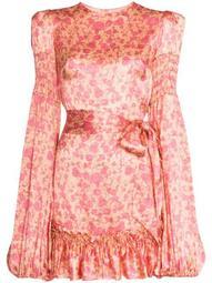 Whole Lotta Frilled shirred floral-print mini dress