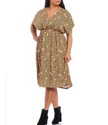 Plus Size Animal Floral Print V-Neck Kimono Sleeve Dress