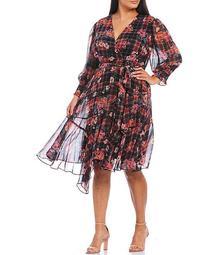 Plus Size V-Neck 3/4 Sleeve Floral Plaid Print Ruffle Hem Dress