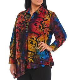 Plus Size Abstract Burnout Knit Long Sleeve Tunic