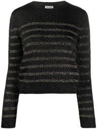metallic thread crewneck jumper