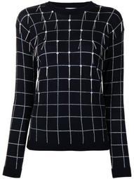 embellished embroidered check jumper