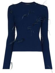 ribbed feather detail jumper