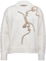 embroidered face wool jumper