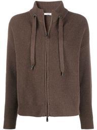 zip-through drawstring sweater
