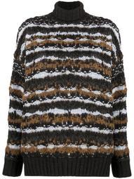 striped roll neck knit jumper