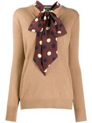 scarf-embellished jumper