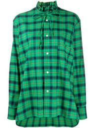 plaid shirt with ruffle neck