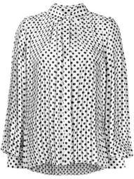 polka-dot pleated shirt