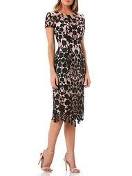 Floral Lace Cap-Sleeve Dress