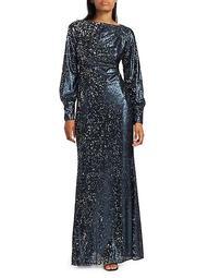 Embellished Long-Sleeve Sequin Dress