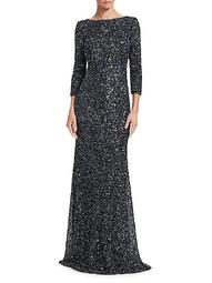Crunchy Sequin Boatneck Gown