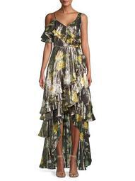 Clapton Floral Silk & Metallic Gown