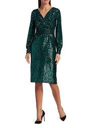 Blouson Sleeve Sequin Sheath Dress