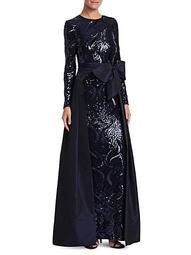 Sequin & Taffeta Overlay Gown