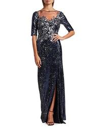 Embellished Sequin Slit Gown